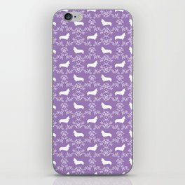 Corgi silhouette florals dog pattern purple and white minimal corgis welsh corgi pattern iPhone Skin