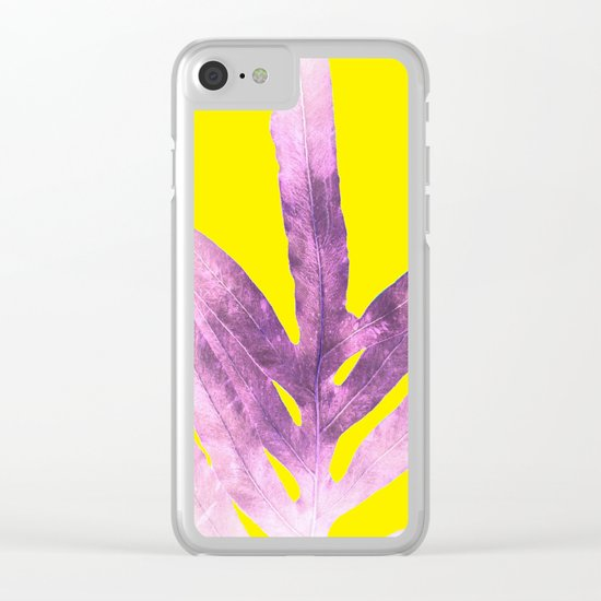 Green Fern on Bright Yellow Inverted Clear iPhone Case