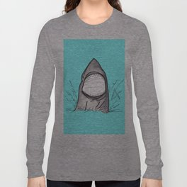 Summer Shark Hand Drawn and Painted on Teal Long Sleeve T-shirt
