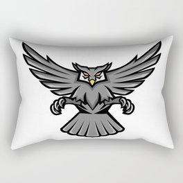 Horned Owl Swooping Front Mascot Rectangular Pillow