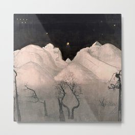 Stars and Heavens in the Heights of the Snow-capped Alpine Mountains by Harald Sohlberg Metal Print