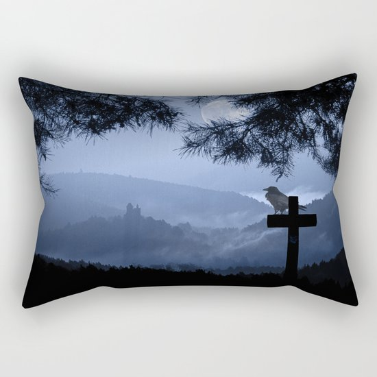 Castle in a foggy night Rectangular Pillow