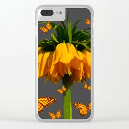 GREY ART  YELLOW MONARCH BUTTERFLIES YELLOW CROWN IMPE Clear iPhone Case