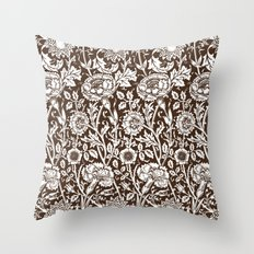 "William Morris Floral Pattern | ""Pink and Rose"" in Chocolate Brown and White Throw Pillow"