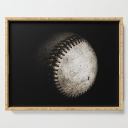 Battered Baseball in Black and White Serving Tray