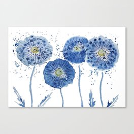 four blue dandelions watercolor Canvas Print