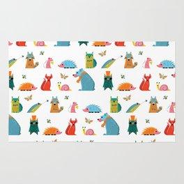 Scandinavian woodland animals pattern print Rug