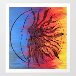 Sun and Moon Love Art Print