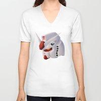 gundam V-neck T-shirts featuring Gundam RX-78 by Etienne Chaize