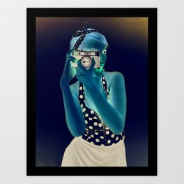 Pinup Photoghapher Girl Art Print