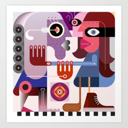 Two Women Are Fighting Art Print