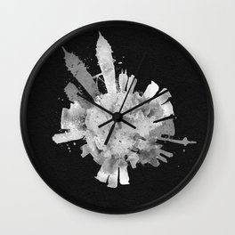 Kuala Lumpur, Malaysia Black and White Skyround / Skyline Watercolor (Inverted Version) Wall Clock