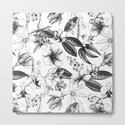 Black and White Vintage Tropical Flowers Pattern by lebensartdesign