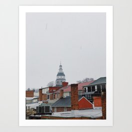 Maryland State House in the snow | Downtown Annapolis, Maryland Art Print