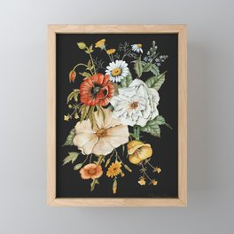 Wildflower Bouquet on Charcoal Framed Mini Art Print