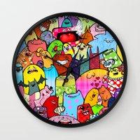 random Wall Clocks featuring Random by Raquel Amo Art