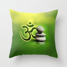 OM symbol  with zen stones on gentle green Throw Pillow
