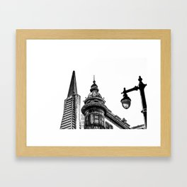 pyramid building and vintage style building at San Francisco, USA in black and white Framed Art Print