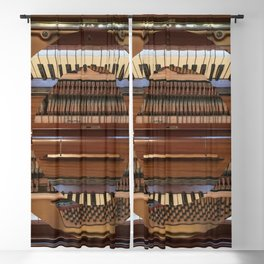 Abstract Upright Piano - Music, Classical, Geometric, Piano Keys, Music Notes Blackout Curtain