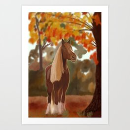 Blond and brown horse in fall Art Print