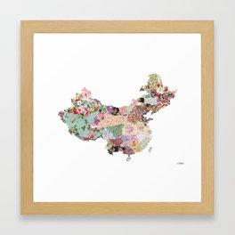 China map - Landscape Framed Art Print