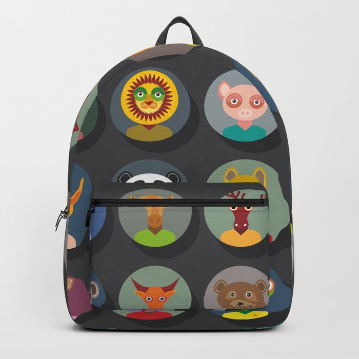 animals faces circle icons set in Trendy Flat Style. zoo Backpack