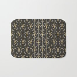 Art Deco Vector in Charcoal and Gold Bath Mat