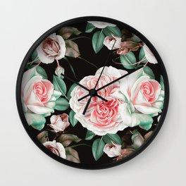 Dark floral bloom Wall Clock