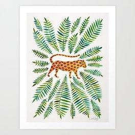 Jaguar – Green Leaves Art Print
