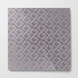 Modern Diagonal Maze Pattern in Aubergine Metal Print