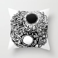 ying yang Throw Pillows featuring Ying-Yang by Carina Maitch