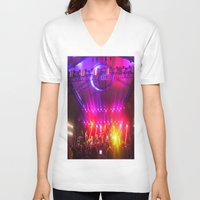 coachella V-neck T-shirts featuring Midnight City M83 Coachella by The Electric Blue / YenHsiang Liang