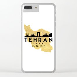 TEHRAN IRAN SILHOUETTE SKYLINE MAP ART Clear iPhone Case