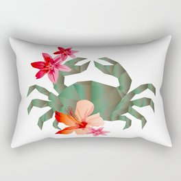 Geometric crab and tropical flowers Rectangular Pillow