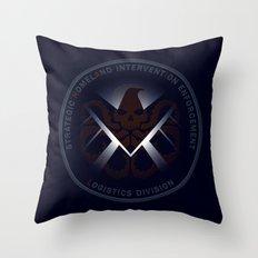 Hidden HYDRA - S.H.I.E.L.D. Logo with Wording Throw Pillow