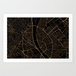 Black and gold Budapest map Art Print