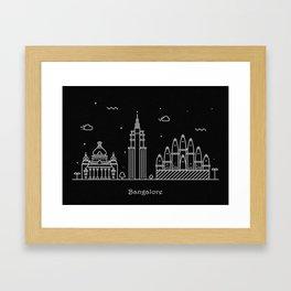 Bangalore Minimal Skyline Drawing Framed Art Print