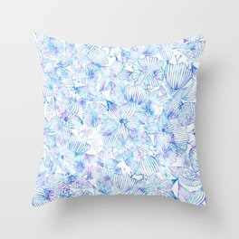 Bohemian teal pink watercolor hand painted floral Throw Pillow