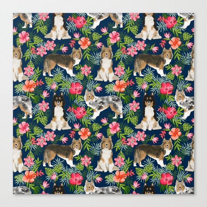 Sheltie shetland sheepdog hawaii floral hibiscus flowers pattern dog breed pet friendly Canvas Print