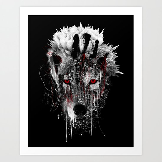 WOLF - RED EYE Art Print