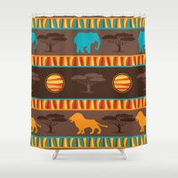 african Shower Curtains featuring African Pattern by Robin Curtiss