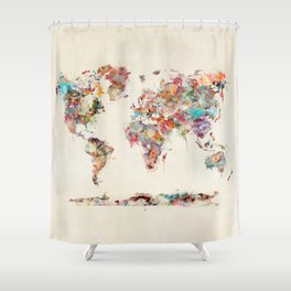 world map watercolor deux Shower Curtain