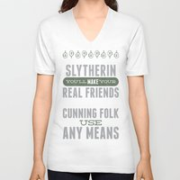 slytherin V-neck T-shirts featuring Slytherin by Dorothy Leigh