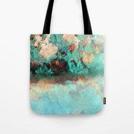 Bright Aqua and Copper Pond Landscape Tote Bag
