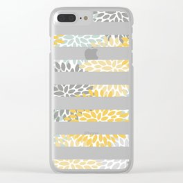 Stripe, Floral, Pattern, Yellow, Pale, Aqua, Blue and Gray Clear iPhone Case