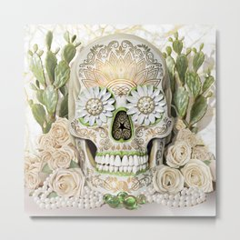 Purity -Sugar Skull, White Roses, Gold, Cactus and Marble Metal Print