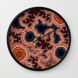 Aboriginal Art Authentic - Pathways Wall Clock