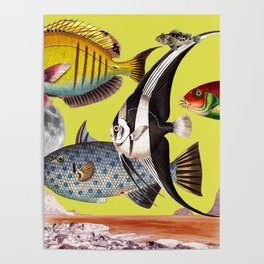Fish World yellow Poster
