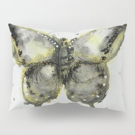 Yellow and Gray Butterfly Pillow Sham