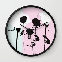 Roses with ink Wall Clock